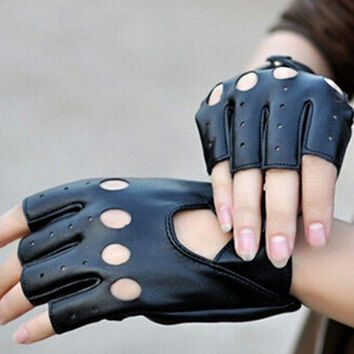 Fashion Half Finger Driving Women Gloves 1 Pair PU Leather Fingerless Gloves For Women Black New = 1958011588