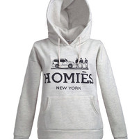 Ash Grey Funny Luxury Logo Print Hoodie With Kangaroo Pocket