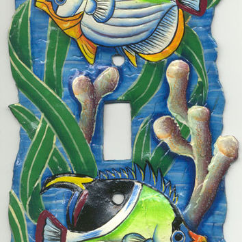 Tropical Switch Plate Covers - Tropical Fish - Hand painted metal switchplate cover - Handcrafted from recycled steel oil drums - S-1013-1