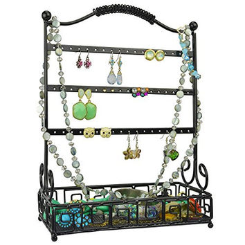 Black Metal 27 Pair Earrings Jewelry Organizer Hanger Display Stand w/ Bottom Accessories Mesh Basket