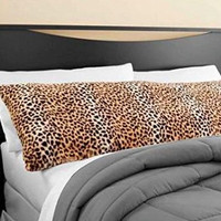 "Elegant Faux Fur Body Pillow Cover - Removable with Zip Cover - Cheetah / Leopard Print- Fits up tp 20"" x 52"" Pillow"