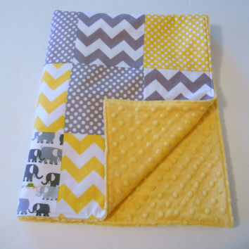 Minky Baby Patchwork Quilt Blanket Riley Blake Chevrons and Dots Cloud9 Elephants Gray Yellow-Made to Order