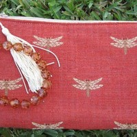 Wristlet ~ Orange Dragon Fly with Bead Handle and inside Pockets