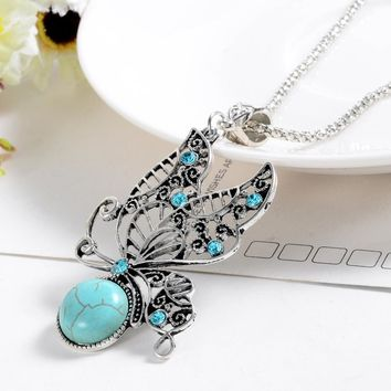 ZOSHI 2017 Fashion Jewelry Natural Stone Pendant Necklace Women lover Valentine's Day gifts vintage Butterfly necklaces