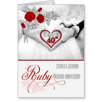 Personalized 40th Ruby Wedding Anniversary Cards