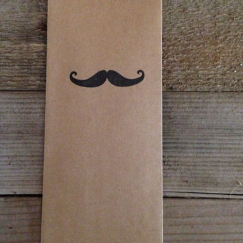 Mustache hand stamped favor bags