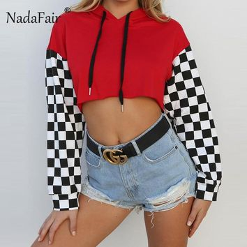 Nadafair women plaid sleeve hooded hoodies patchwork loose casual red black sweatshirts sexy autumn crop tops women pullover