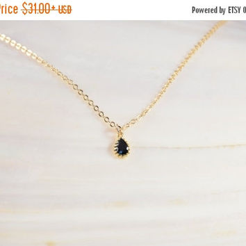 SALE 20% Off - Small BLACK STONE Necklace, Delicate Pendant, High Quality Gold Plated 2.5 Micron, Special Gift, Handmade Jewelry, Bridesmaid