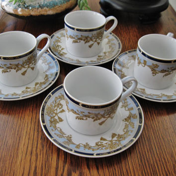 Andrea Sadek Coffee Set Four (4) Cups and Saucers Blue Gold Made in Japan