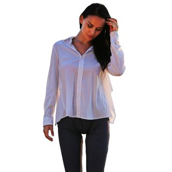 Chic Turn Down Collar Long Sleeve Self-Tie Shirt for Women
