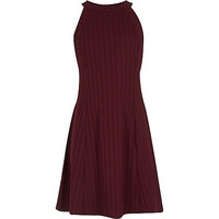 River Island Girls berry red ribbed skater dress
