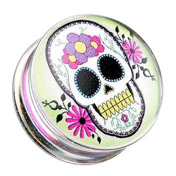 Sugar Skull Clear UV Double Flared Ear Gauge Plug