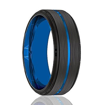 Mens Wedding Band - Tungsten Wedding Band - Black Tungsten Brushed - Thin Blue Groove Step Edge  - Tungsten Wedding Ring - Man Tungsten Ring - 8mm