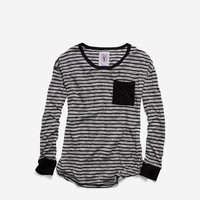 Women's Pinch Long Sleeve Jersey Pocket Crew Neck