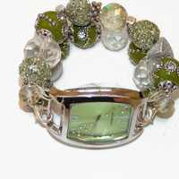 Glitzy Green Chunky Beaded Watch - Interchangeable Watch - Unique Gift - BeadsnTime - Christmas Gift -Beaded Watch - Stocking Stuffer