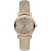 Burberry Women's Beige Leather Band Steel Case Swiss Quartz Bronze Dial Analog Watch BU9154