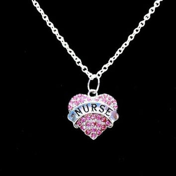 Pink Crystal Nurse Heart Graduation Gift For RN LPN Nurses Charm Necklace