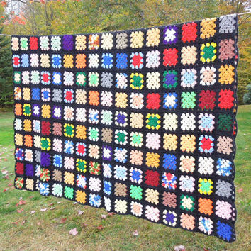 """Large vintage crochet blanket afghan with colorful granny squares and black border 94"""" x 72"""""""
