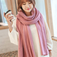 Dusty Pink Super Long Knitted Scarf. Ladies Winter Knit Scarf Shawl