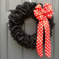 Black Burlap Wreath Red Polka Dots Black Red White Burlap Door Wreaths Disney