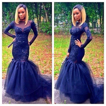 African Elegant Long Sleeve Mermaid Evening Dresses Scoop Beaded Appliques Prom Gown Floor Length New Navy Blue Tulle Prom Dress