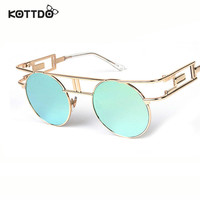 KOTTDO Retro Round Metal Frame Sunglasses Steam Punk Vintage Hip Hop Designer Versae For Women Men oculos de sol masculino