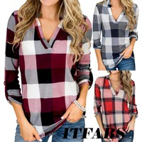 Women Autumn Plaid V Neck Long Sleeve Casual Loose Pullover Jumper Blouse TShirt