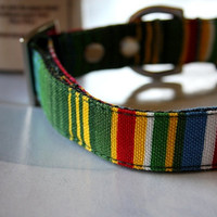 Green Red colorful striped Dog Collar 3/4 Inch Wide