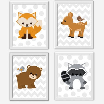 WOODLAND FOREST Animals Baby Boy Nursery Wall Art Fox Baby Nursery Deer Bear Raccoon Boys Room Decor Gray Chevron Safari Baby Boy Decor