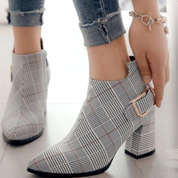 New plaid buckles side zipper boots with thick heels for ladies