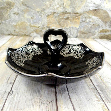Mid Century Ebony Glass and Sterling Silver Candy Dish