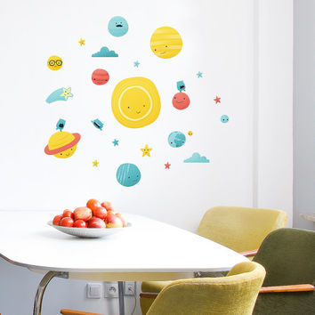 Solar System Eco wall decal / Eco-friendly fabric sticker / Removable wall sticker / Nursery, Kids room decor / Planets wall graphic / Sun