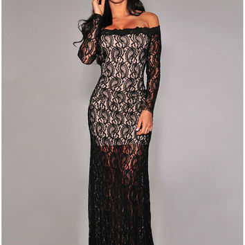 Black Lace Off-shoulder Long Sleeve Bodycon Fishtail Maxi Dress