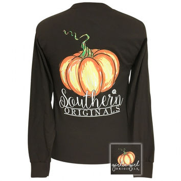 Girlie Girl Preppy Watercolor Pumpkin Fall Long Sleeve T-Shirt