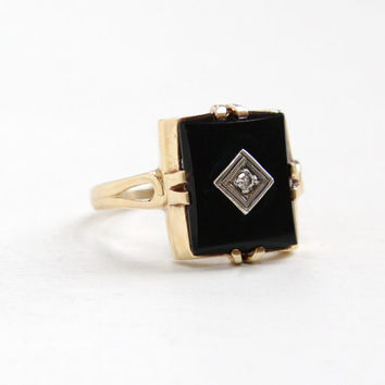 Vintage 10K Yellow Gold Black Onyx & Diamond Ring - Art Deco Size 7 Square Cut Fine Jewelry