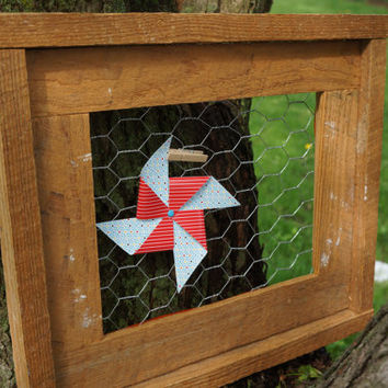 Bare wood double frame with chicken wire insert