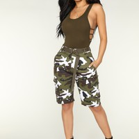 Cadet Kate Oversized Camo Shorts - Winter Camo
