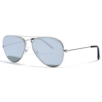 Cool and Reflected Silver Mirrored Aviator Sunglasses