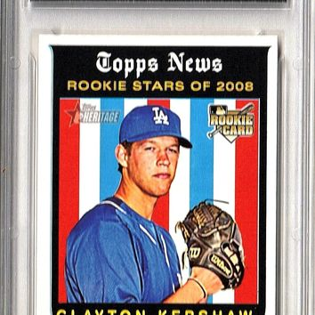 GRADED 10 CLAYTON KERSHAW ROOKIE 2008 TOPPS HERITAGE BASEBALL #595 DODGERS GEM