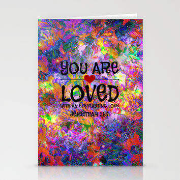 YOU ARE LOVED Everlasting Love Jeremiah 31 3 Art Abstract Floral Garden Christian Jesus God Faith Stationery Cards by The Faithful Canvas