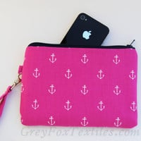 #Fuchsia #hot #Pink #anchor print #wristlet #clutch #iPhone #smartphone case navy blue zipper