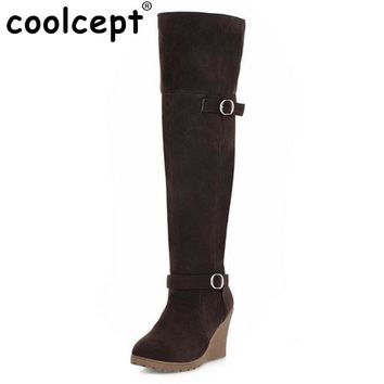 Women's Round Toe High Heel Platform Rubber Sole Tall Wedge Boots