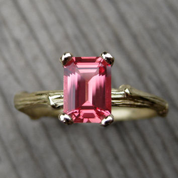 Padparadscha Orange Sapphire Twig Engagement Ring: Emerald Cut, 1ct, Lab Grown Sapphire
