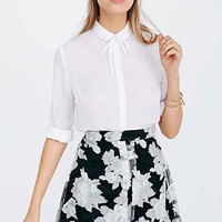 Lucca Couture Organza Pleated Mini Skirt- Black & White