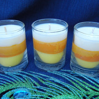 Candy Corn Scented Tri-Color Soy Votive Candles, Set of 3