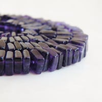 Amethyst Gemstone Square Cut Faceted Rondelle Heishi Cube 6mm 80 beads 1/2 strand