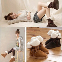 Winter Snow Boot Women Vintage Man-made Fur Buckle Motorcycle Ankle Boots Shoes = 1931558020