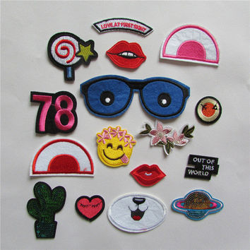 fashion style cartoon patter Clothing jeans patch patches hot melt adhesive applique embroidery patch DIY accessory 1pcs sell