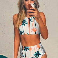 Fashion White Palm Tree Print Cropped Top and High-Waisted Bottom Swimsuit