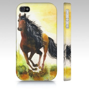 iPhone4 Case - Graceful Thunder- horse cellphone cover cute brown pony mare field landscape art majestic painting phone stallion Oladesign